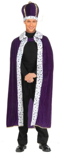 Forum Novelties Men's King Robe and Crown Costume, Purple, One Size (Gras Queen Mardi)