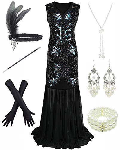 Dancing Stone 1920s Sequin Mermaid Formal Long Flapper Gown Party Evening Dress, Black, X-Large]()
