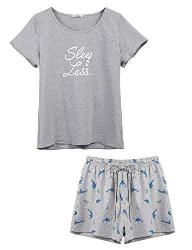 Ekouaer Women's Kitty Cat Print Ruffles Short Pajama Set Gray XXL