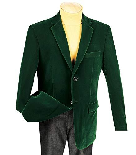 VINCI Men's Velvet 2 Button Classic-Fit Sport Jacket Blazer Emerald Green | Size: -