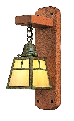 Arroyo Craftsman AWS-1EGW-AB A-Line Mahogany Wood Sconce without Overlay, Antique Brass Metal Finish, Gold White Iridescent Glass - Brass Antique Sconce