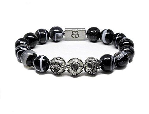Black Striped Onyx and Sterling Silver Bracelet, Men's Onyx Bracelet