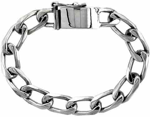 Gent's Sterling Silver Cuban Link Bracelet Handmade 3/8 inch wide, sizes 8, 8.5 & 9 inch
