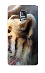 Crazinesswith Fashion Protective Girl With Pet Tiger Case Cover For Galaxy S5