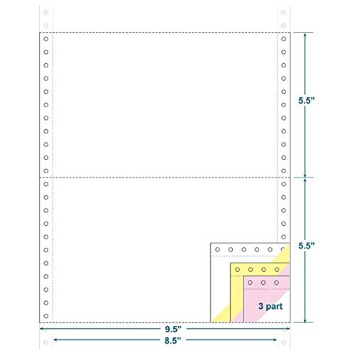 3-Ply Carbonless Paper, White/Canary/Pink, Form Size 9-1/2'' x 5-1/2'' (W x H) (Carton of 2400) by The Business Form Supplies Shop