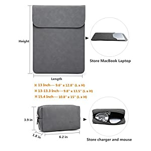 HYZUO 13 Inch Waterproof Laptop Sleeve Protective Case for 13inch New MacBook Pro Retina 2017 2016/ Google Pixelbook/ Surface Pro 4 / Dell XPS 13 with Carrying Bag, Faux Suede Leather-Dark Gray