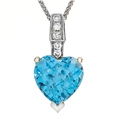LALI Classics 14k White Gold Swiss Blue Topaz Heart Shape Pendant Necklace