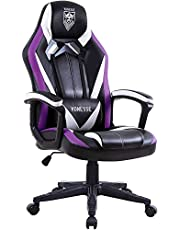 Massage Gaming Chair, Racing Style Computer Chair, Carbon Fibre Modern Video Gaming Chair, Swivel Gaming Desk Chair, High Back Racing Gaming Chair, E-Sports Gamer Chair Big and Tall (Purple)