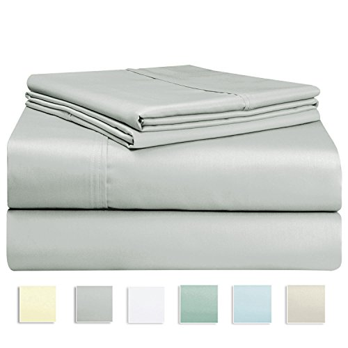 400 Thread Count Sheet Set, 100% Long-staple Cotton Silver King Sheets, Sateen Weave Bedsheets, Stylish 4-inch hem, upto 17 inch Deep Pocket by Pizuna Linens (100% Cotton Sheet Set Silver (17 Deep Pocket)