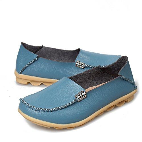 Fereshte Damesmode Lederen Instappers Casual Slip-on Zachte Zolen Platte Schoenen Voor Het Rijden Winkelen Laag Uitgesneden Hemelsblauw
