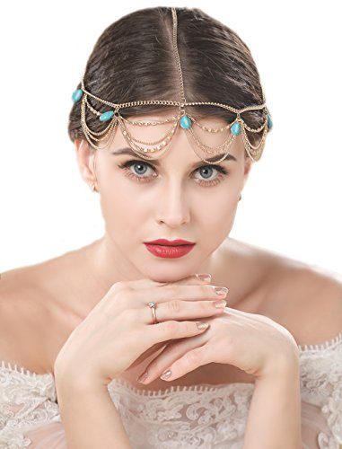 Jovono Women's Head Chain Vintage Headband with Turquoise for Women and Girls