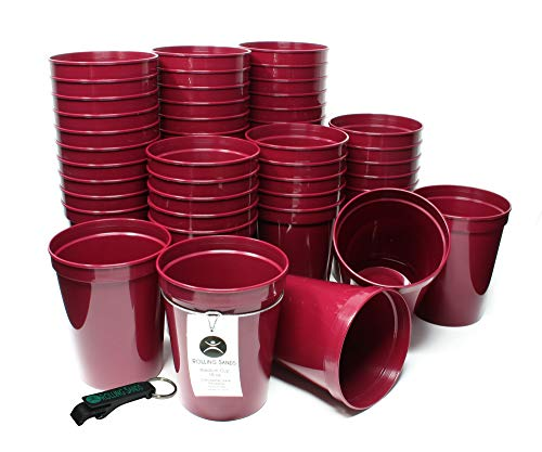 Rolling Sands 16 Ounce Reusable Plastic Stadium Cups Maroon, Bulk 50 Pack, Made in USA, BPA-Free Dishwasher Safe Plastic Tumblers and Bottle Opener