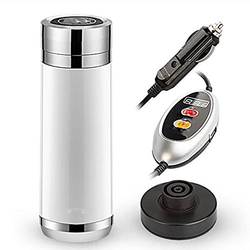 (LPY-Portable 12V 380ml Stainless Steel Car Electric Cup Mugs Water Heating Boiling Cup Cigarette Lighter Bottle with Spiral Charging Base Insulation Cup with Thermostat , pearl white)