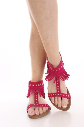 Pink Womens New Camel in Fringe Brown Black Studded Fuchsia Dress Sandals Blue HqWwUxpPdq