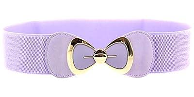 X&F Women's Elegant PU Bowknot Stretch Wide Belt Dress Decorative Waistbelts