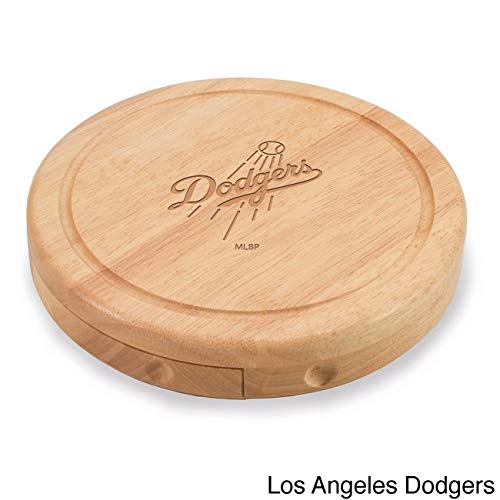 1 Piece MLB Los Angeles Dodgers Brie Cheese Board Set Wooden, LA Dodger Team Logo Professional Baseball Themed Serving Tray, LAD Cutting Board Platter Round Natural Beige, Wood