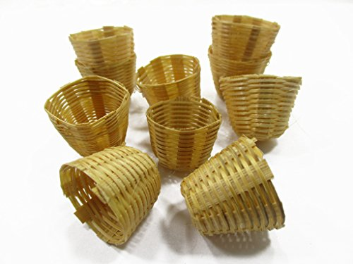 10 Bamboo Wicker Basket Fruit Vegetable Picnic Dollhouse Miniature Supply 14815