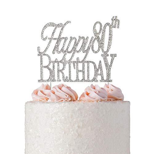 Happy 80th Birthday Rhinestone Cake Topper | Premium Sparkly Crystal Rhinestones | 80th Birthday Party Decoration Ideas | Quality Metal Alloy | Perfect Keepsake (Happy 80th Silver) -