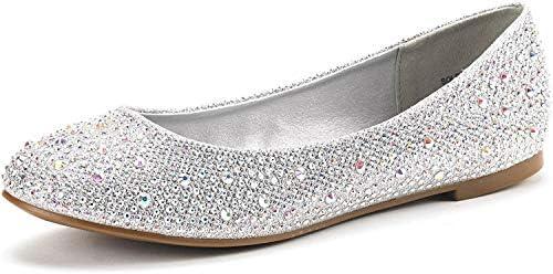 DREAM PAIRS Women's Sole-Shine Rhinestone Ballet Flats Shoes