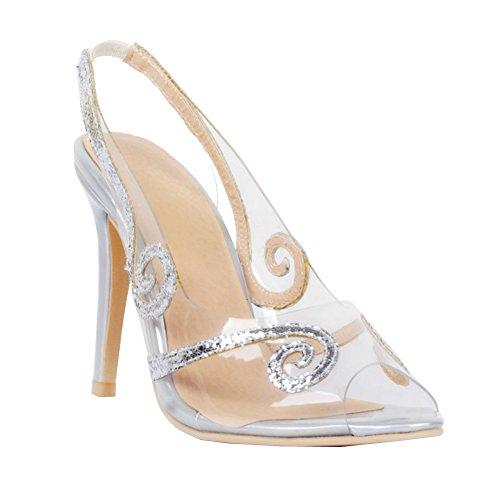 Handmade cuir silver Kolnoo Chaussures Femmes PVC de en vzpTW5fwxq