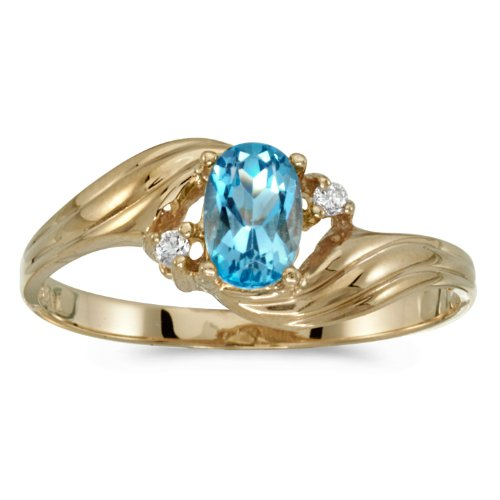 10k Yellow Gold Oval Blue Topaz And Diamond Ring (Size 6) Blue Topaz & Diamond Oval Ring