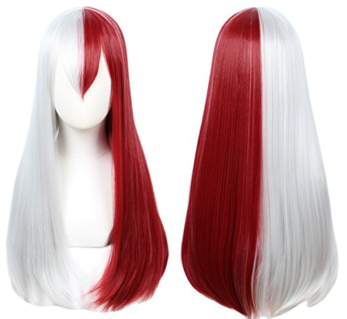 Linfairy Half Red and Sliver Wig Halloween Costume Cosplay Wig (Long wig) -
