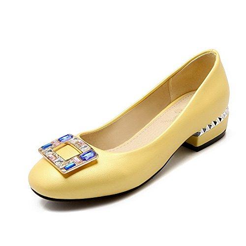 AllhqFashion Mujer Sólido Pu Mini Tacón Puntera Cerrada Puntera Cuadrada Sin cordones De salón Amarillo