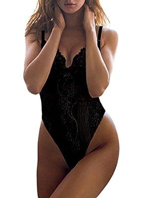 Dlsave Women Sexy Lace Bodysuit One Piece Lingerie Teddy Underwear