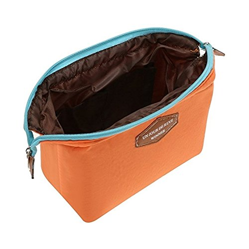 Hindom Women Makeup Toiletry Bag for Women Skincare Cosmetic Pouch Clutch Handbag Purses– 4 Colors for Choice, Orange