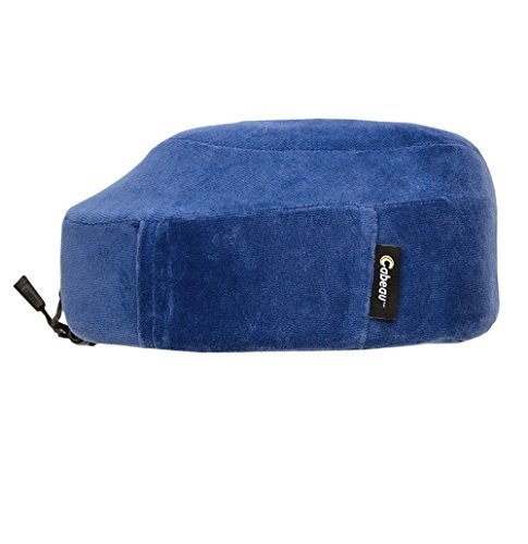 NEW CABEAU Memory Foam ''Evolution Pillow'' - The Travel Pillow That Works! Includes Small Bag, Raised Side Supports, Flat Rear Neck Cushion, Washable Cover, Media Pouch, and More - BLUE
