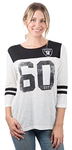 (Icer Brands NFL Oakland Raiders Women's T-Shirt Vintage 3/4 Long Sleeve Tee Shirt, Small,)