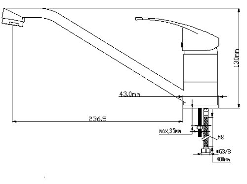 DP Grifer/ía GC-0006 Grifo de fregadero color plateado