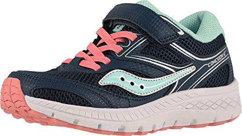 Saucony Girls' Cohesion 12 A/C Sneaker, Navy/Turq, 1 W US Little Kid (Saucony Kid Little)