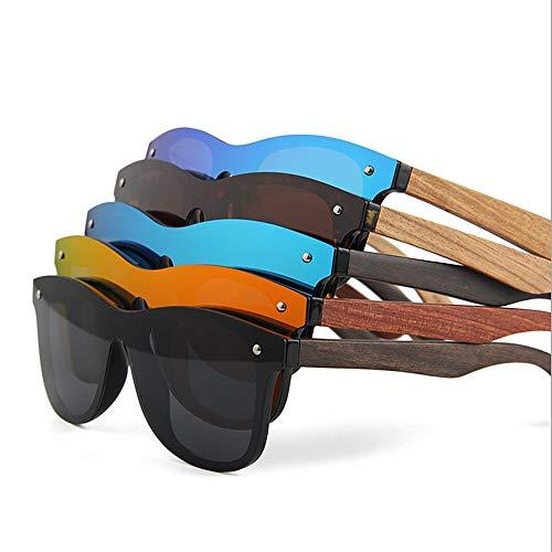Personalidad Pesca TAC Ojos Lente PC Vacaciones al Retro Pierna Protección Gafas polarizadas aire One UV400 Marco de Madera Style Conducción de gato Playa sol Gafas Piece Hombres de Negro sol libre Gafas de dB6q5w