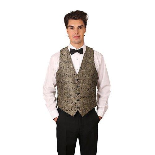 (Men's Gold Symphony Jacquard Vest and Black Bow Tie Set-X-Large)