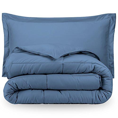 Bare Home Ultra-Soft Premium 1800 Series Goose Down Alternative Comforter Set - Hypoallergenic - All Season - Plush Siliconized Fiberfill (Full/Queen, Coronet Blue)