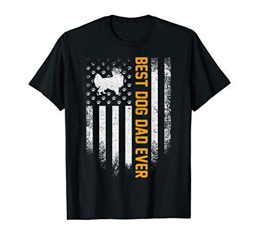 Vintage USA Best Papillon Dog Dad Ever American Flag Funny T-Shirt