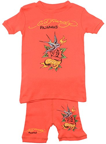 Ed Hardy Little Girls' Tattoo Graphic Short Sleeve Pajama Set - Red - 2/3 Ed Hardy Baby Clothes
