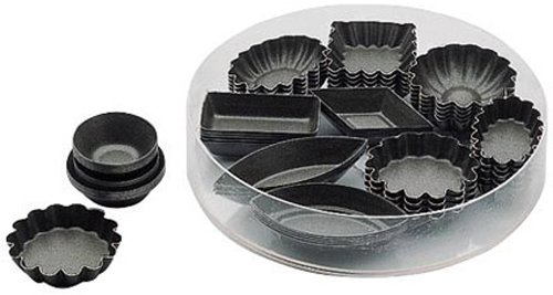 Paderno World Cuisine Petit Fours Non-Stick Molds, PTFE and PFOA-Free, Set of (Petit Four Mold Set)
