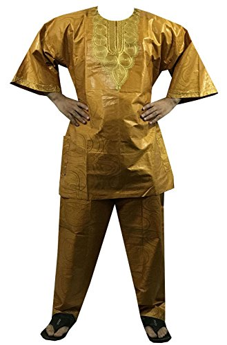 DecoraApparel Mens African Pant Set Brocade Embroidered 3 Piece Suits Bright Colors