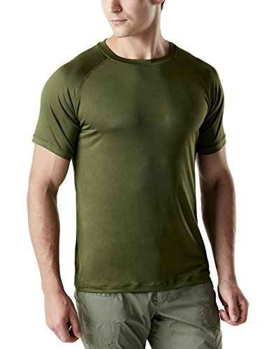 TSLA Men's FlexDri Short Sleeve T-Shirt Athletic Cool Running Top, Tacti Dri Short Sleeve(tos100) - Olive Green, - Fitted Fight T-shirt