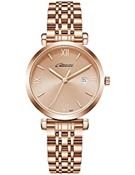 Women Fashion Watches Waterproof Quartz Watches Ladies Analog Wristwatch for Dress,Rose Gold,1862