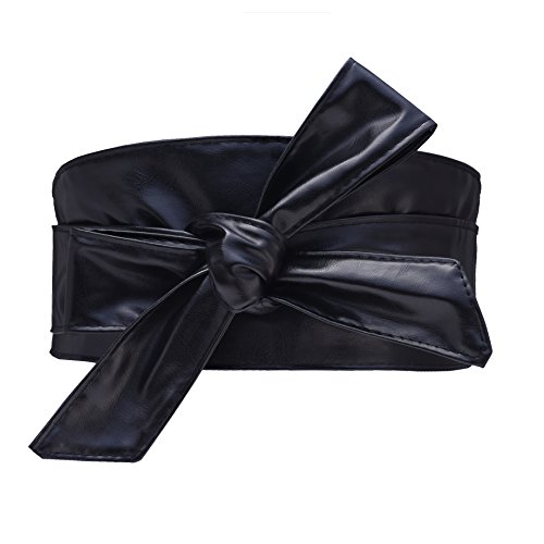 Woman Leatherette Waistband Obi Belt Cityelf Wrap Around Lace Up Cinch Band Wide Self Tie Bow Knot Cummerbund