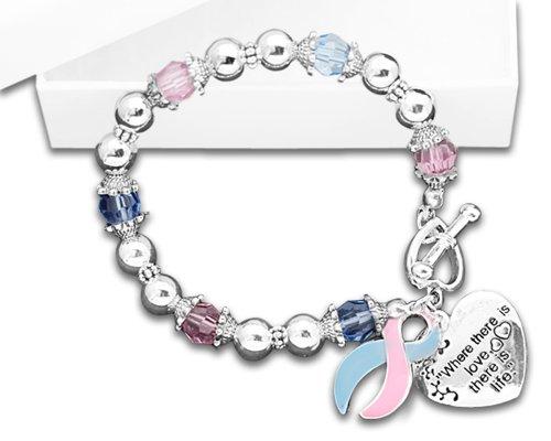 Where There Is Love Pink & Blue Ribbon Bracelet (1 Bracelet - RETAIL)