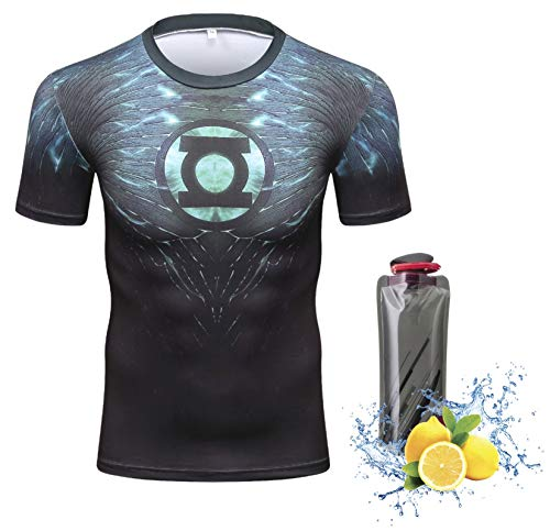 Triv Men's Compression Workout Green Lantern Logo Short Sleeve T Shirt (Green Lantern Large)