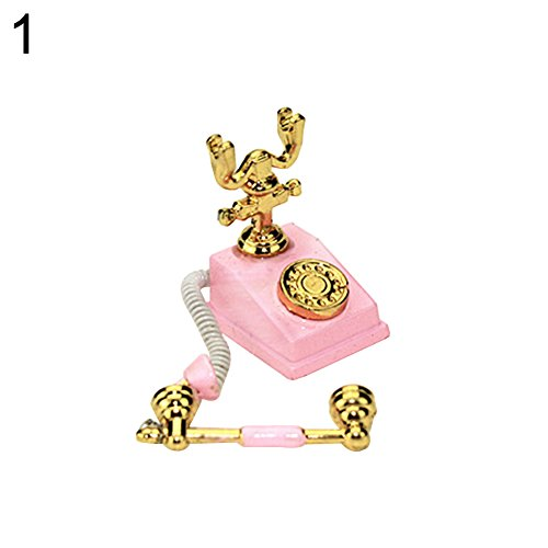 (ruiycltd Miniature Retro Rotary Telephone Dollhouse Decoration Accessories Kids Toy - Pink)