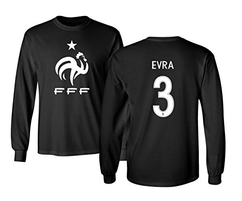 Tcamp France 2018 National Soccer #3 Patrice Evra World Championship Men's Long Sleeve T-Shirt (Black, Adult Large) (Evra Jersey)