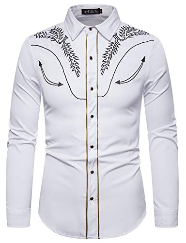 ief.G.S Men's Long Sleeve Button-Down Shirt Slim Fit Dress Shirts with Floral Embroidery