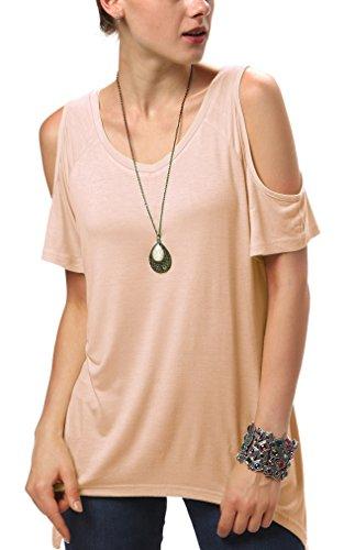 Urban CoCo Women's Vogue Shoulder Off Wide Hem Design Top Shirt - XX-Large - Nude Pink