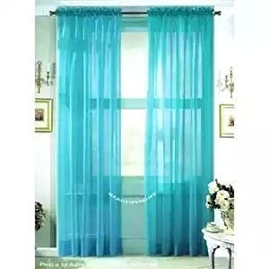 HLC.ME Turquoise 2-Pack 108  inch x 63  inch Window Curtain Sheer Panels